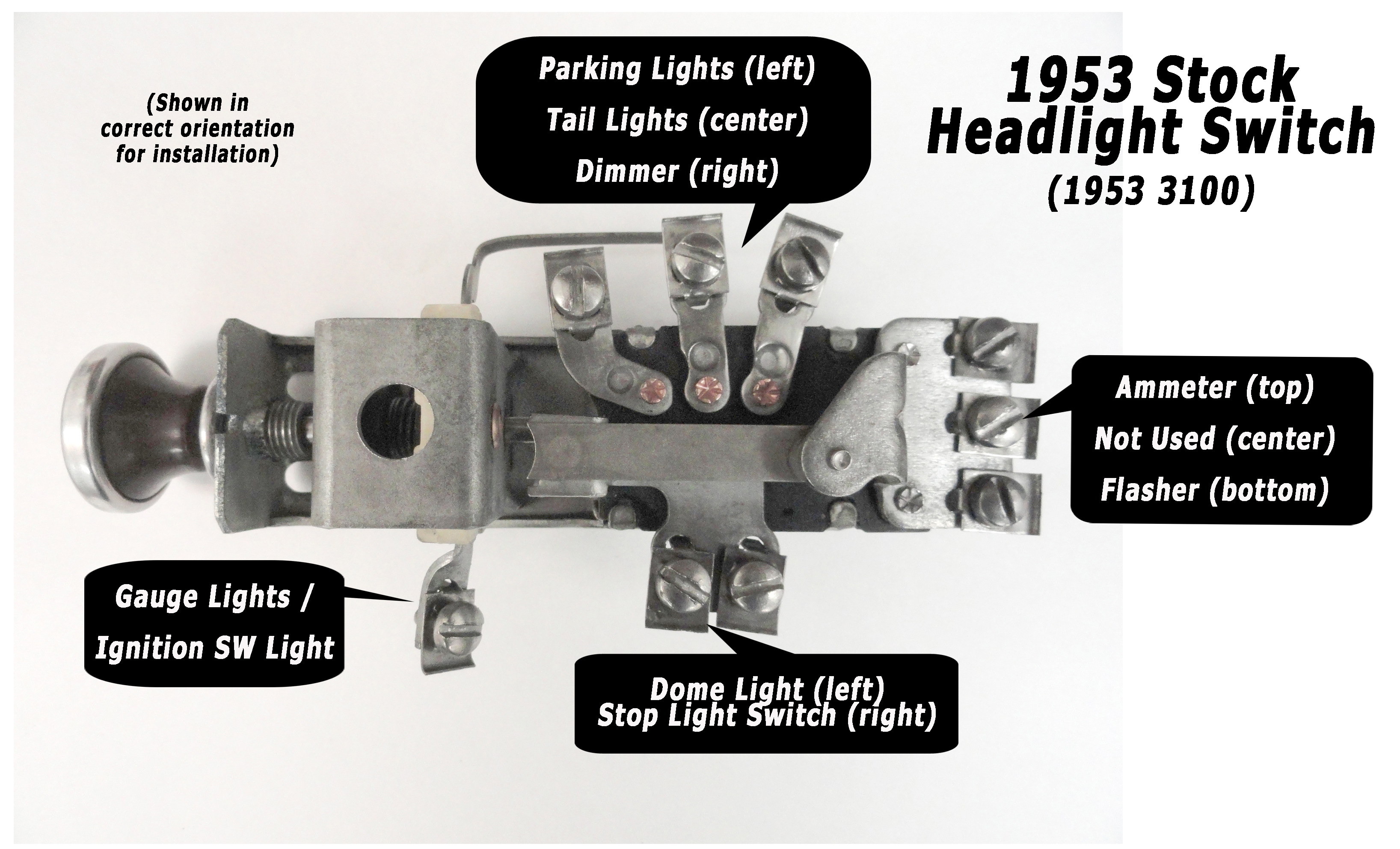 Headlight Switch Wiring Classic Parts Talk Instrument Cluster Diagram Click To Enlarge 1953 Headlightswitchdiagramlg